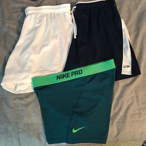 Nike and Champion workout shouts and spandex